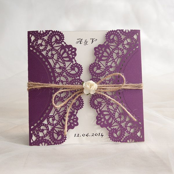 rustic purple laser cut invitation with twine and flower EWWS057 as low as $2.09  