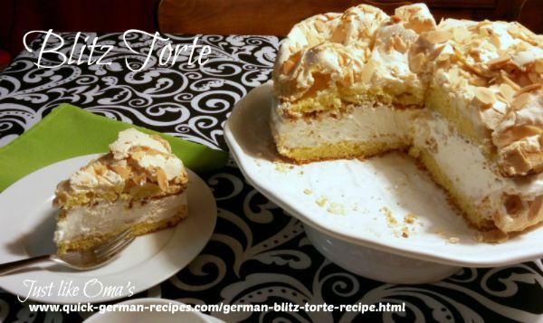 German Blitz Torte http://www.quick-german-recipes.com/german-blitz-torte-recipe.html is a 'lightning-fast' cake to make.