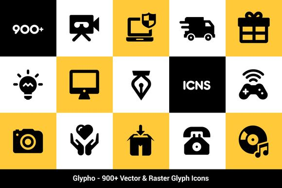 Check out Glypho - 900+ Vector Glyph Icons by Bogdan Rosu on Creative Market