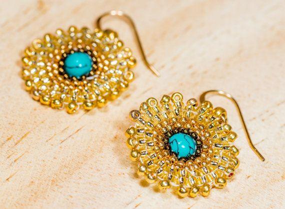 Mandala earrings turquoise earrings Christmas by ChantalJewelry