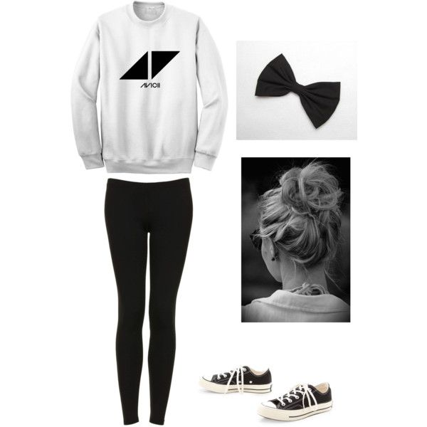 Perfect u0026quot;lazy dayu0026quot; outfit for winter- Avicii hoodie with leggings converse and messy bun ...