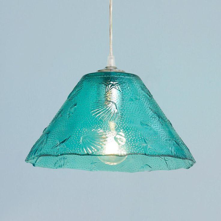 Sea Shell Glass Pendant Light Beach shells in relief glass form a treasured glass pendant light in everyone's favorite, aqua.