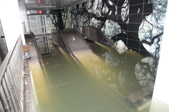 Escalators underwater in NYC subway due to Hurricane Sandy