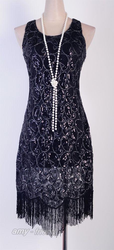 5d7a9bfda2b 1920 s Flapper Party Clubwear Gatsby Abbey Sequin   Tassel Black Dress AF  3239 in Clothing