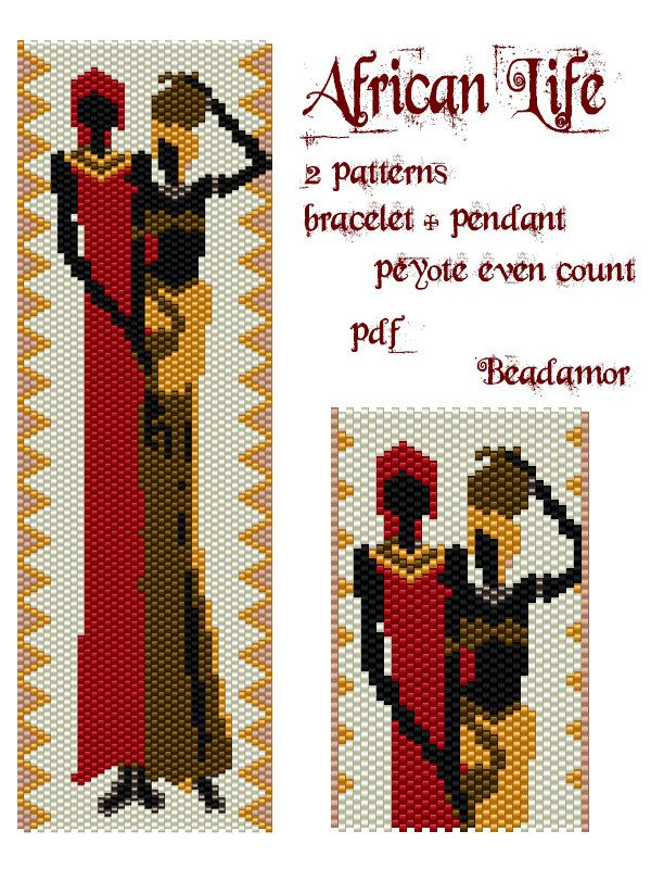 2 Peyote Patterns for bracelet and pendant: African by Beadamor