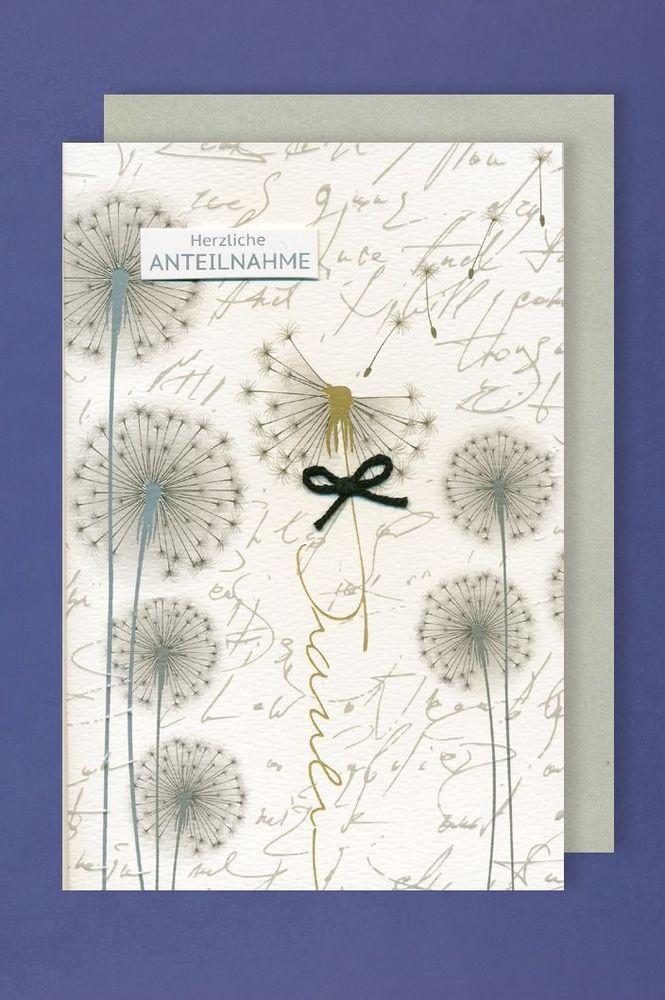 Trauer Grußkarte mit Umschlag schwarze Schleife Pusteblume 11x17cm in Möbel & Wohnen, Feste & Besondere Anlässe, Karten & Schreibwaren | eBay