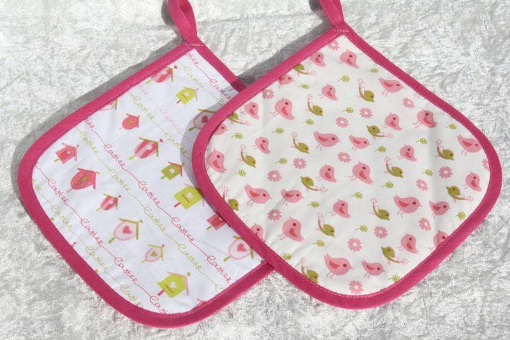 Kochutensilien - Topflappen genäht weiß rosa Vogel Kochen Geschenk - ein…