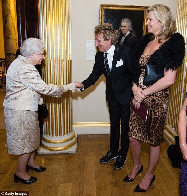 Delighted! Rod Stewart joined his wife Penny Lancaster for a night out at the Royal Academy of Arts on Tuesday as they attended the same awards ceremony as Queen Elizabeth II