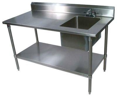 John Boos Ept6r5 3060gsk R Work Table Prep Sink 60in W X
