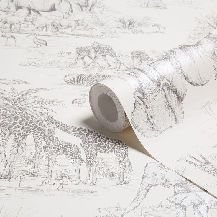 Colours Watering Hole Cream Animal Safari Metallic Wallpaper | Departments | DIY at B&Q