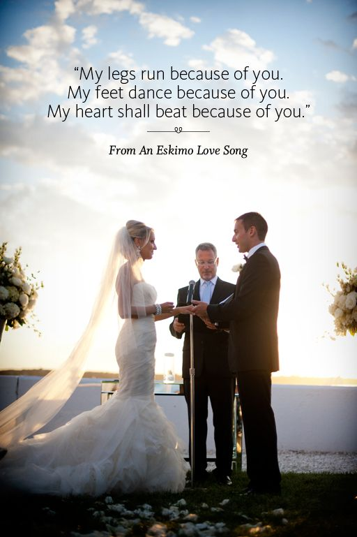 Wedding ceremony reading from An Eskimo Love Song
