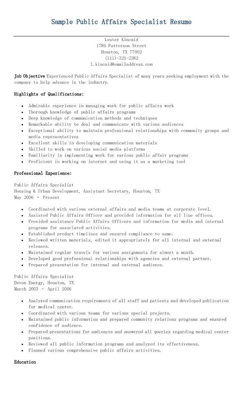 sample public affairs specialist resume resame
