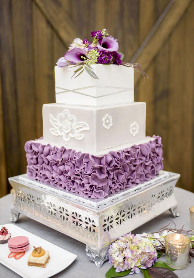 Plum Ruffled Wedding Cake by Brandy-The Icing & The Cake - http://cakesdecor.com/cakes/299017-plum-ruffled-wedding-cake