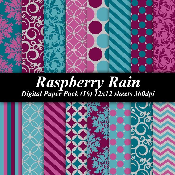 BUY 2 GET 1 FREE - Raspberry Rain Digital Paper Pack (16 ...