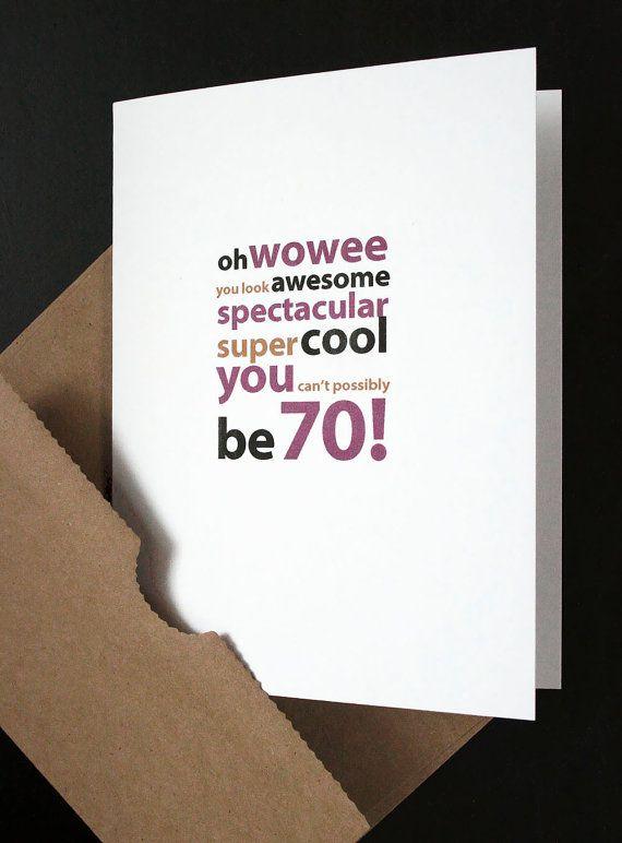 Happy 70th Birthday Card - For Him, Her, Friend, Husband ...