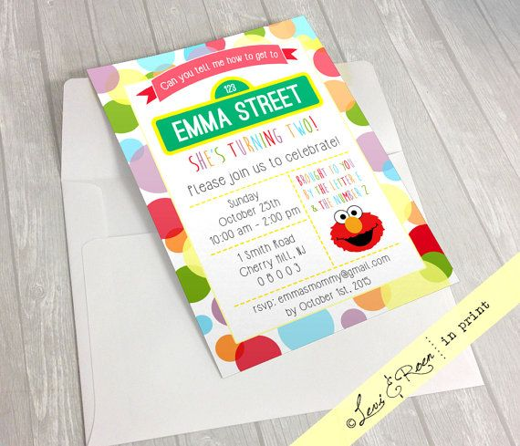 Sesame Street Elmo Birthday Invitation Boy & by LeviAndRoenInPrint