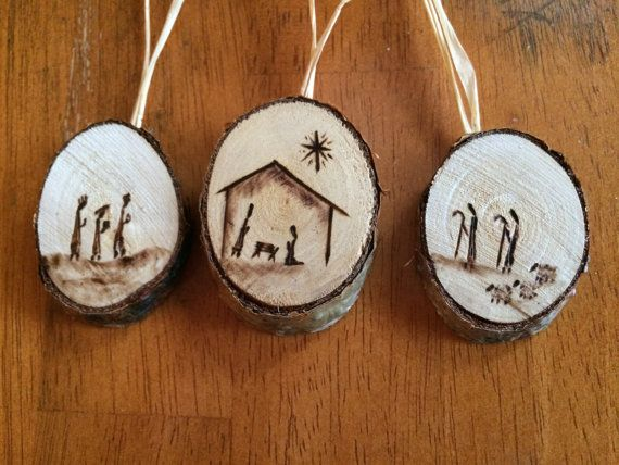Nativity Birch Wood-Burned Ornaments set of 3 by BirchWoodBurns
