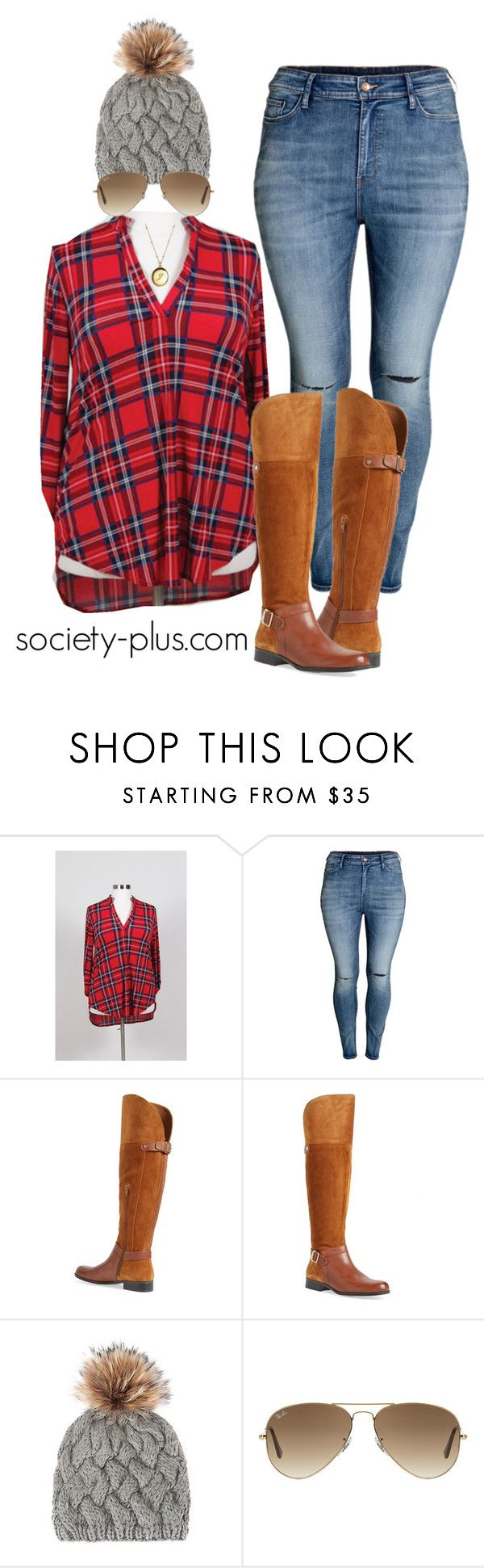 """""""Plus Size Plaid - Society+"""" by iamsocietyplus on Polyvore featuring H&M, Naturalizer, Annabelle New York, Ray-Ban, Kate Spade, women's clothing, women's fashion, women, female and woman"""