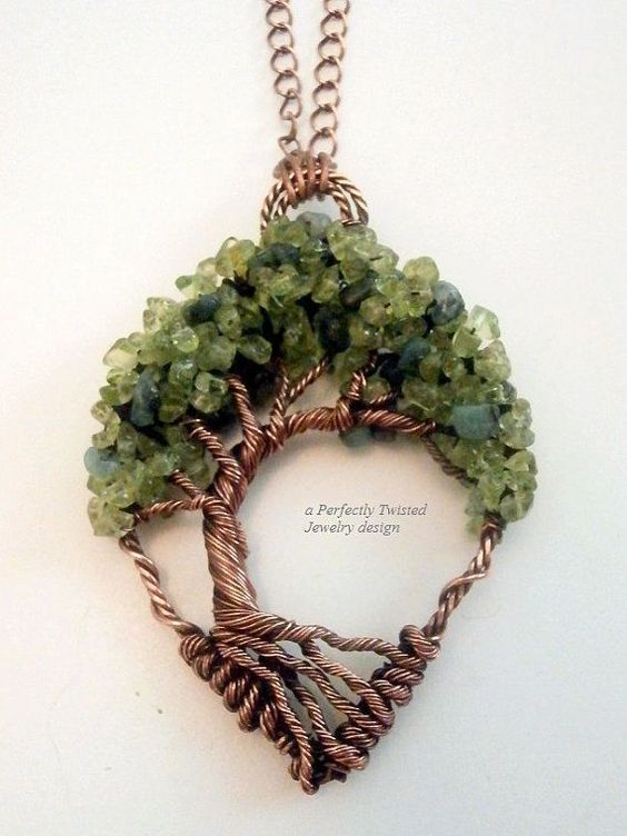 Wire Wrapped Tree of Life Bonsai Pendant, Peridot & Emeralds, Handmade Jewelry, Antiqued Copper, Wire Tree Jewelry, August, May Birthstone #Trees