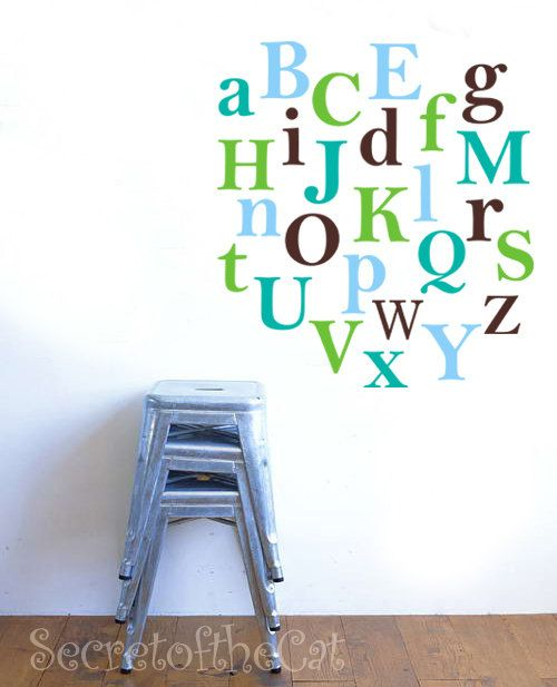 Vinyl Wall Decal Alphabet A Z Kids Letters Decals Nursery Set