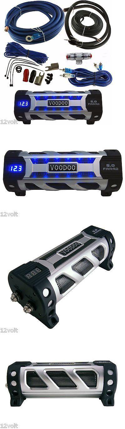 Capacitors: Voodoo Car Audio 5 Farad Digital Power Capacitor Blue Display + 4 Gauge Amp Kit -> BUY IT NOW ONLY: $67.99 on eBay!