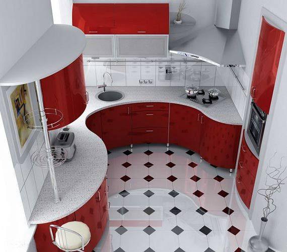 Дизайн красной кухни 6 кв.м фото