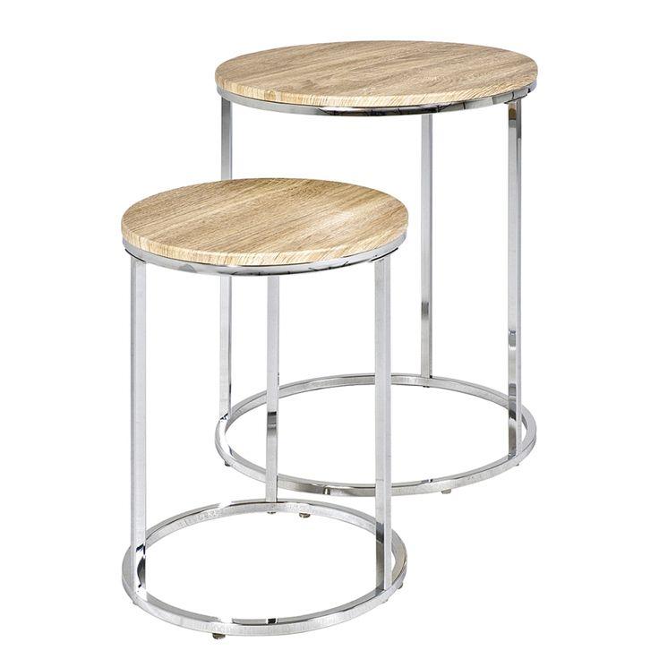 Table d'appoint Mirandela (lot de 2) - Chrome / Imitation chêne clair