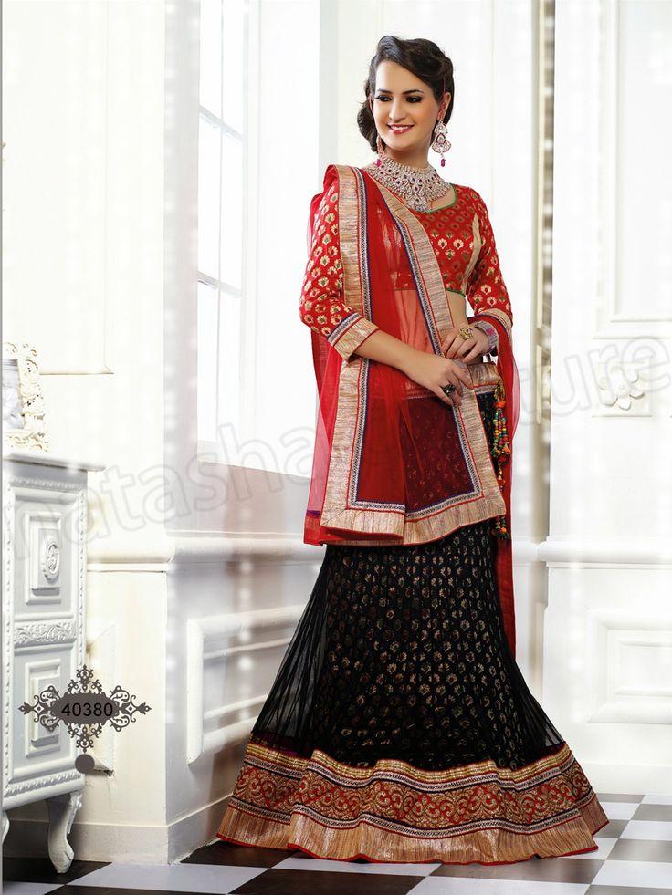 #Designer Lehenga Choli#Black & Red   #Indian Wear#Desi Fashion #Natasha Couture #Indian Ethnic Wear #Bridal Wear #Wedding Wear
