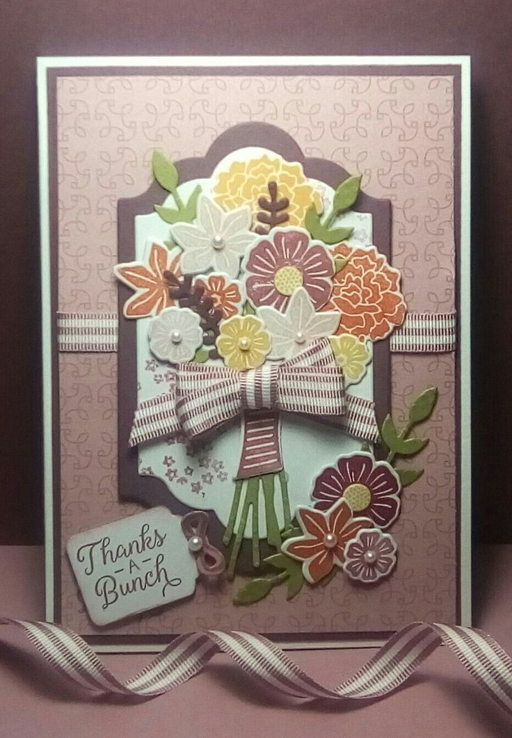 Beautiful Bouquet Stampin'Up! Stamps and matching dies used to create this card, I love the detail in these stamps and to have matching dies to cut them out is just amazing! Hope you like it !!