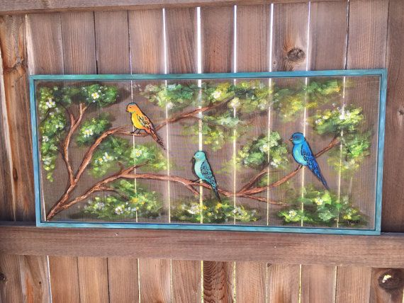 Recycle Old window Screen hand painting Birds by RebecaFlottArts