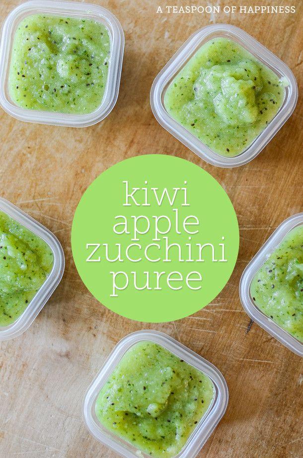 Kiwi Apple Zucchini Puree | Homemade Baby Food | ateaspoonofhappiness.com