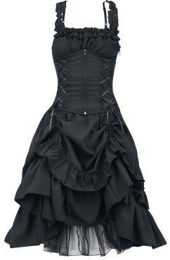 """- Korsagenoptik - Schnürungen - mehrlagiger Rock - Raffungen am Rücken - seitlicher Reißverschluss  Traumhaftes Gothic-Kleid """"Soul Dress""""  Kleid mit figurbetonter Korsagenoptik, abnehmbare Korsage mit Reißverschluss auf der Front und Schnürung auf dem Rücken. Der vordere Teil des Rockes lässt sich wunderschön raffen. Die Länge beträgt ca. 89 cm."""