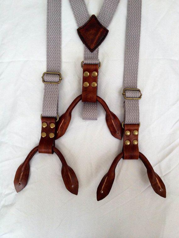 Grey suspenders mens suspenders leather suspenders by MDBespoke