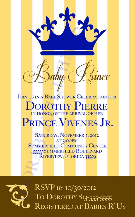 Prince Baby Shower Invitation by adorablelilthings on Etsy, $15.00