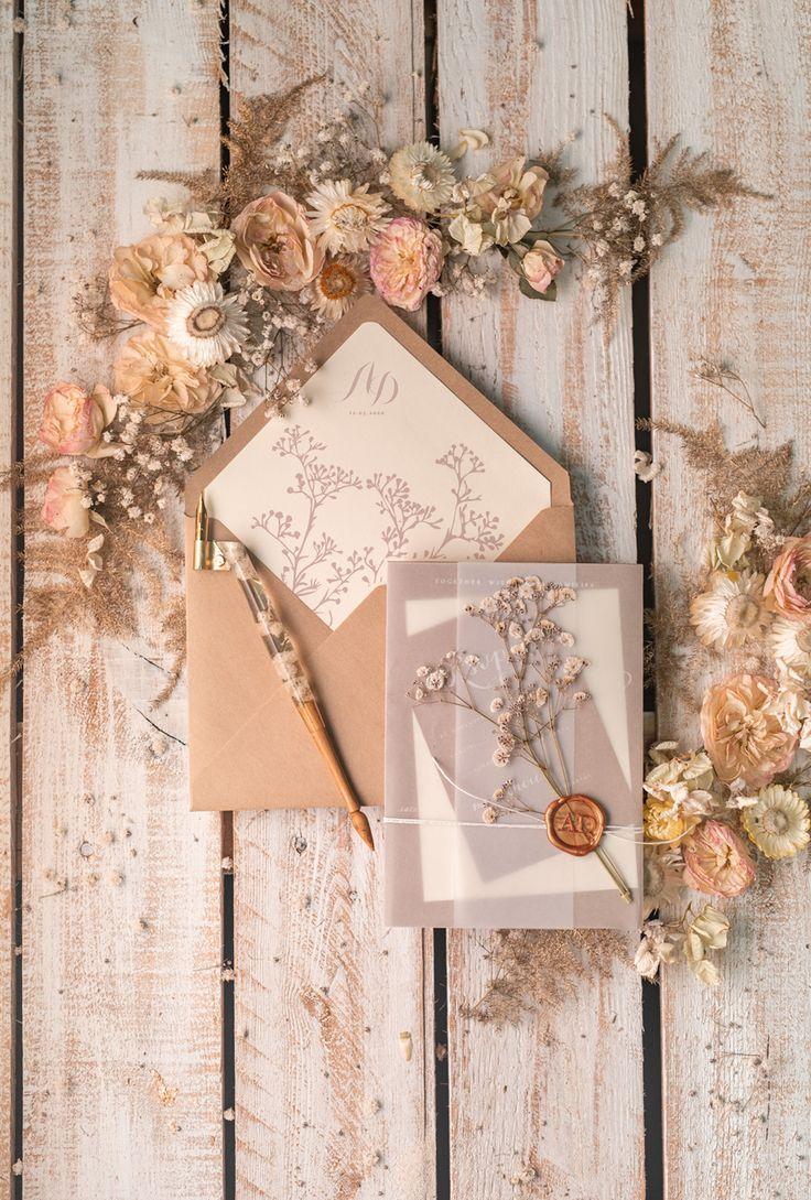 Rustic Wedding Invitations Uk Real Gypsophila Vellum Wrap With Wax Seal Baby Breath Flowers On Handmade Envelope 01 Rusg Z Wedding Invitations Uk Rustic Invitations Modern Wedding Invitations