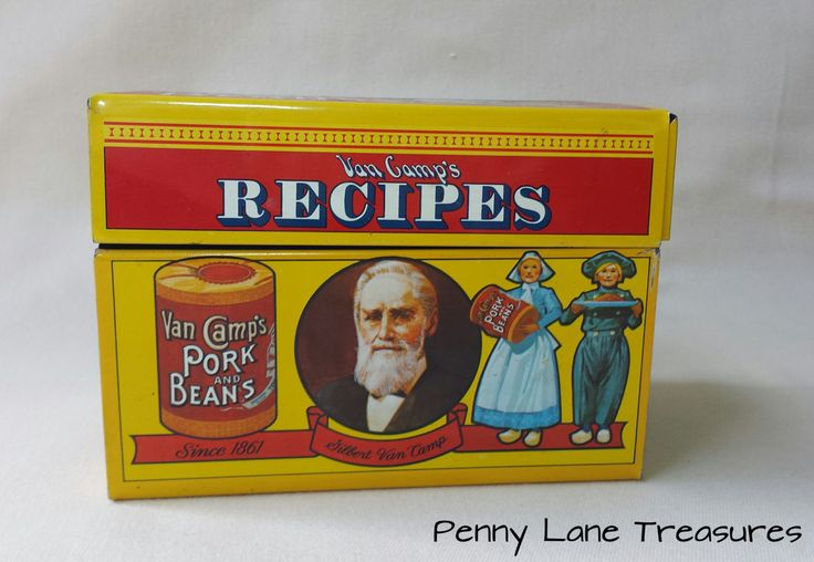 Vintage Recipe Box ~ Van Camp's Pork and Beans ~ Metal ~ 1986 ~ Advertising Tin ~ Limited Edition ~ Stokely-Van Camp, Inc ~ Kitchenware by PennyLaneTreasures on Etsy