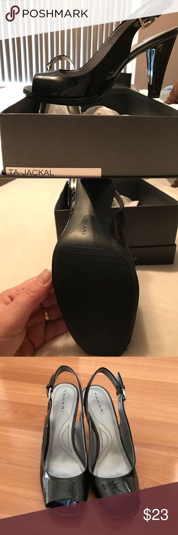 Black patent leather shoe Worn once to a bridal shower, very comfortable because the bottom of the shoe is a non slip rubber sole. So cute on. Tahari Shoes Heels