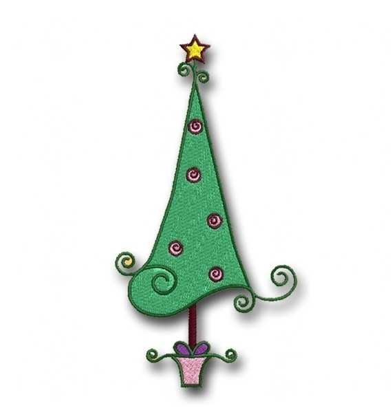Whimsical Christmas Trees Ideas: Swirly Whimsical Christmas Tree Embroidery Design 1 By