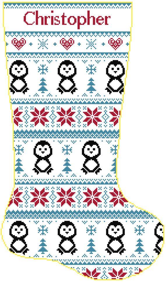 Cross Stitch Christmas Stocking Band Penguins and by SherrysHouse