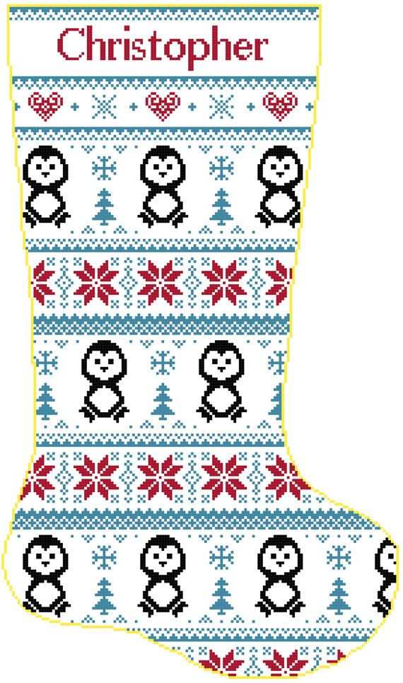 Cross Stitch Christmas Stocking Band Penguins and by SherrysHouse