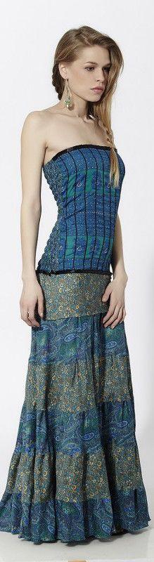 Vestido largo palabra de honor en combinación con varios estampados y torso efecto corset Azul