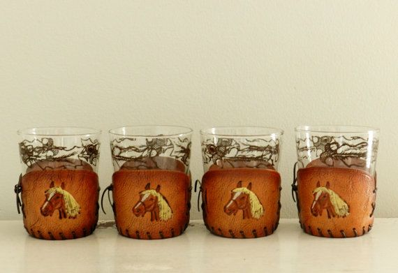 Vintage+Bar+Glasses+Leather+Horse+Holders+Acorn+by+ModRendition,+$60.00