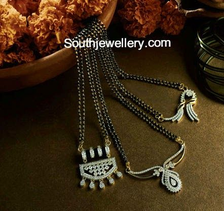 black beads chains with diamond pendants