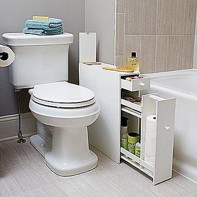 White Bathroom Floor Cabinet For Compact Slim Narrow