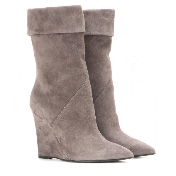 Saint Laurent Paris Suede Wedge Boots ($965) ❤ liked on Polyvore featuring shoes, boots, grey, grey wedge boots, wedge sole boots, wedge heel boots, gray boots and wedges shoes