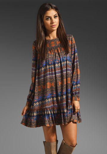 ANTIK BATIK Bajna Babydoll Dress in Brown at Revolve Clothing - Free Shipping!
