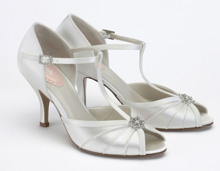 Perfume by PINK UK Gorgeous Vintage T-Bar Peep Toe with Pearl & Crystal trim dyeable ivory satin.