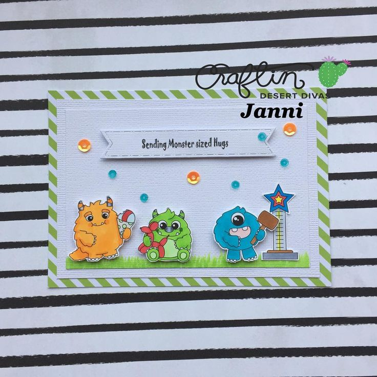 Happy sunday ⭐️💕 Today @craftindesertdivas is showing you the first stamp set from June release 'Monster Carnival' 🎉 It's just awesome 💕 Remember to visit the event page for a chance to win the stamps ⭐️ #mitkammer #cardmaking #copiccoloring #craftindesertdivas #monstercarnival #newrelease #junerelease #clearstamps #craftygirl #crafting #handmadewithlove #littlemonsters #sequins #comet #colorfull #happytime