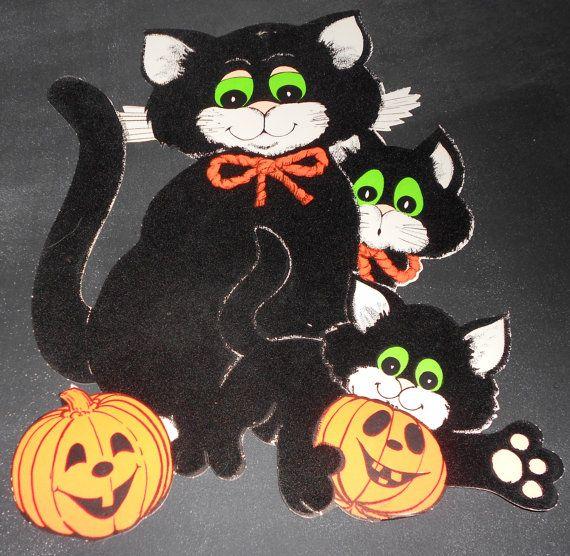 Vintage Retro Halloween Die-Cut Wall Hanging Cardboard Decoration - Velvet Cats and Pumpkins