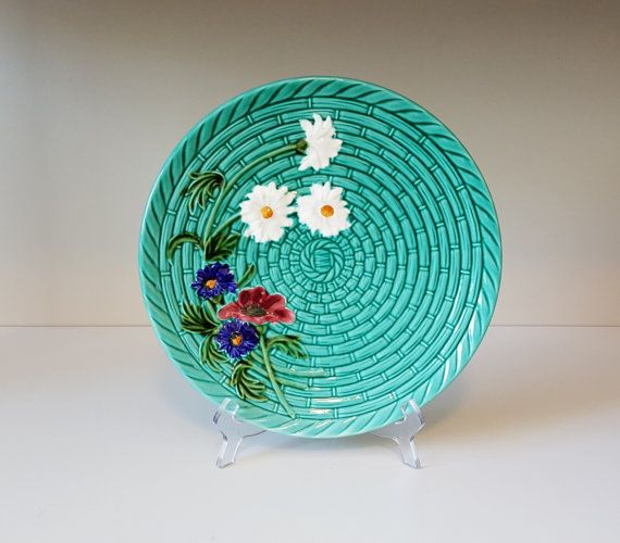 Large Vintage Majolica Plate Basket Weave with Wild by RetroEnvy21